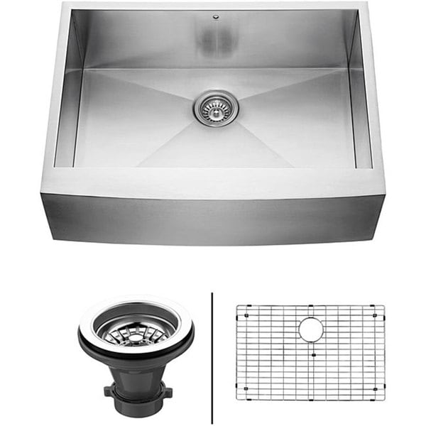 VIGO 30-Inch Farmhouse Satin-Finish Stainless-Steel Kitchen Sink, Grid, and Strainer
