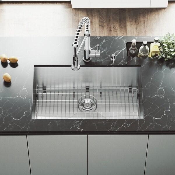 stainless steel undermount sink. VIGO 30-inch Ludlow Stainless Steel Undermount Sink, Grid \u0026amp; Strainer - Silver Sink