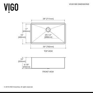 VIGO 30-inch Ludlow Stainless Steel Undermount Sink, Grid & Strainer - Silver