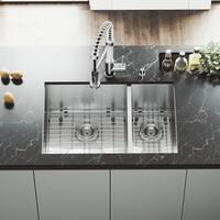 VIGO 29-inch Endicott Double Bowl Undermount Sink, Grids & Strainers