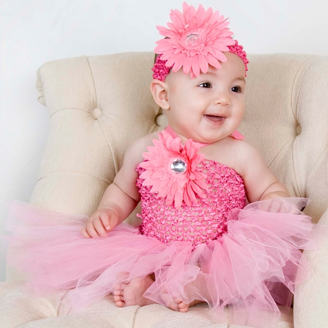 Baby Pink Flower Tutu Dress and Headband - Free Shipping ...
