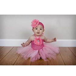 Baby Pink Flower Tutu Dress and Headband