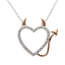 18k Rose Gold over Silver 1/10ct TDW Diamond Heart Necklace (J-K, I3)