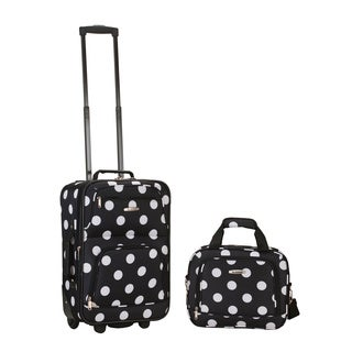 Rockland Expandable Black Dot 2-piece Lightweight Carry-on Luggage Set