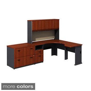 BBF Series A Single Pedestal Corner Desk with 30-inch Bridge, 36-inch 2-drawer Lateral File and 60-inch Hutch