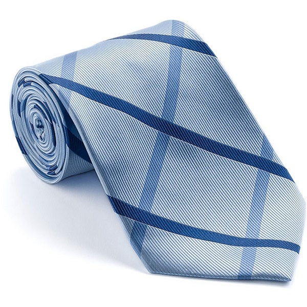Platinum Ties Men's 'Blue Polo' Diagonal Striped Tie