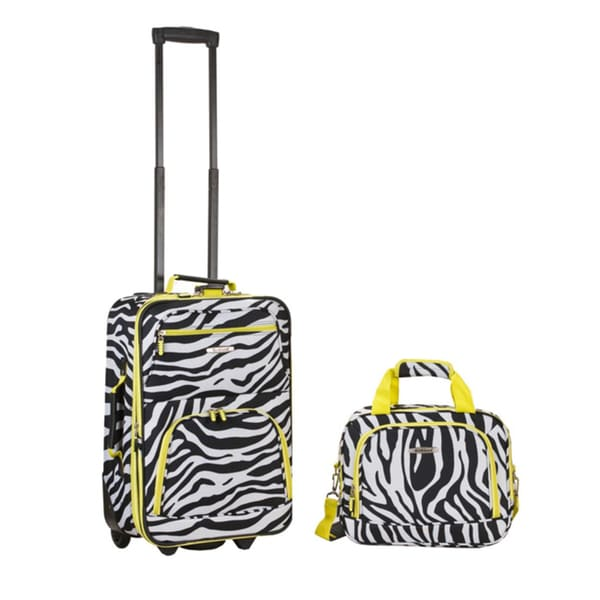 cedf74be6eb7 Rockland Deluxe Lime Zebra 2-piece Expandable Lightweight Carry-on Luggage  Set