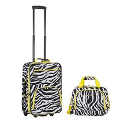 Rockland Deluxe Lime Zebra 2-piece Expandable Lightweight Carry-on Luggage Set