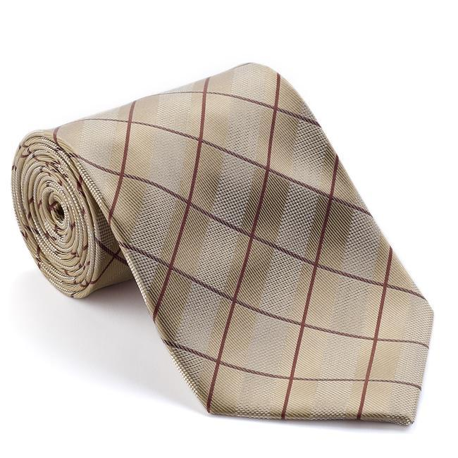 Platinum Ties Men's 'Tan Circuit' Striped Tie