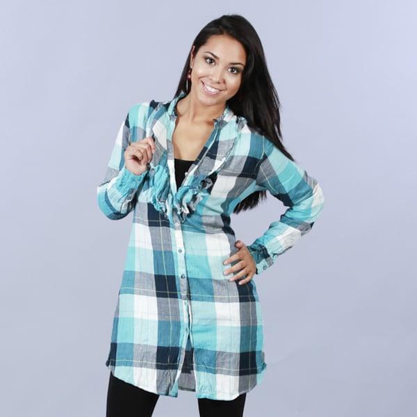 Cino Designer Women's Cotton Plaid Ruffle Tunic