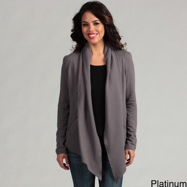 Cino Designer Women's Platinum French Terry Zip Knit Jacket