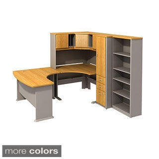 BBF Series A 48-in Corner Desk with 60 x 44 Right-hand Left-bow Desk, 26-in 5-shelf Bookcase, 48-in Corner Hutch and Locker