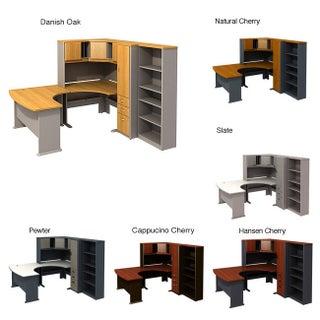 BBF Series A 48-in Corner Desk with 60 x 44 Right-hand Left-bow Desk, 26-in 5-shelf Bookcase, 48-in Corner Hutch and Locker