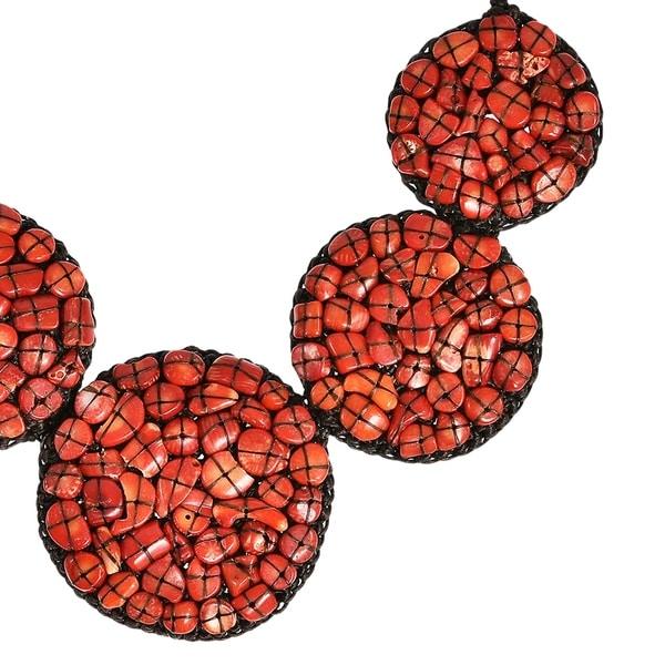 AeraVida Mosaic Bubble Bib Handmade Reconstructed Red Coral Necklace