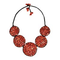 Mosaic Bubble Bib Handmade Synthetic Coral Necklace (Thailand)
