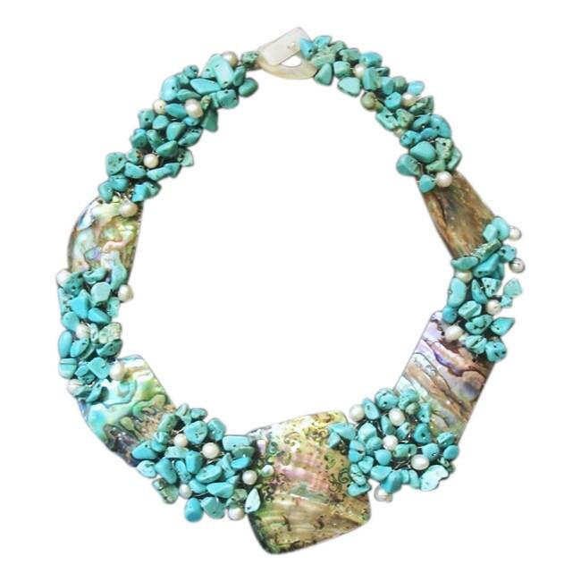 Aeravida Handmade Abalone, Turquoise and Pearl Link Neckl...