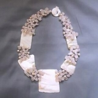 Handmade Mother of Pearl, Rose Quartz and Pearl Necklace (Philippines)
