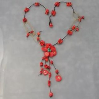 Handmade Cotton and Brass Turquoise and Coral Flower Dangle Necklace (Thailand)