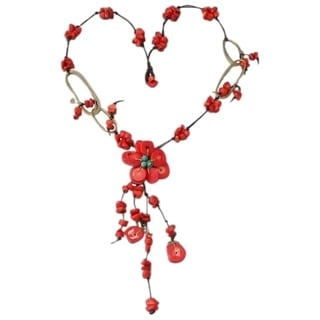 Cotton and Brass Turquoise and Coral Flower Dangle Necklace (Thailand)