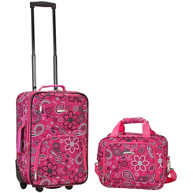 Rockland Deluxe Pink Bandana 2-piece Lightweight Expandable Carry-on Luggage Set
