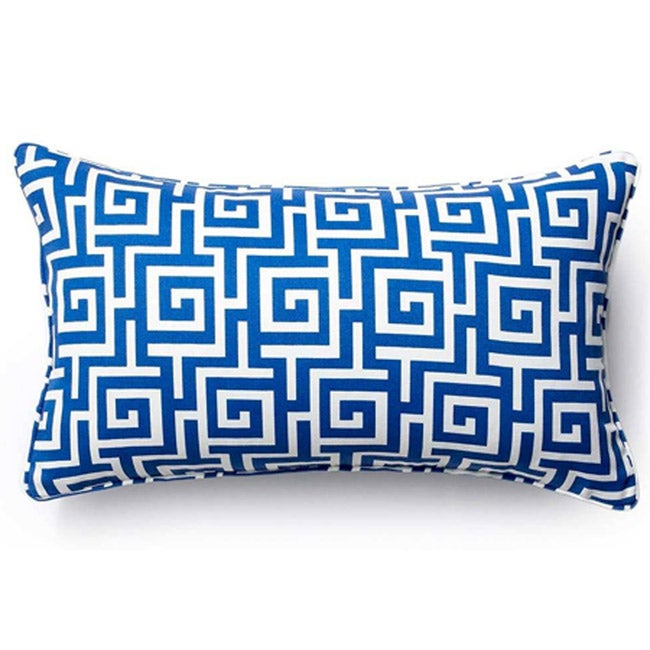 Blue Puzzle Outdoor Throw Pillow - Thumbnail 0