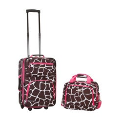 Rockland Deluxe Pink Giraffe 2-piece Lightweight Expandable Carry-on Luggage Set