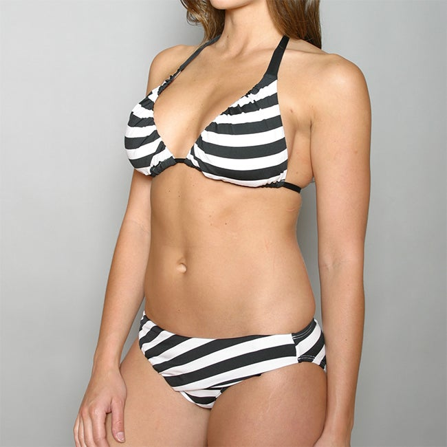 Perry Ellis Swim Stripped Tactel Halter Bikini