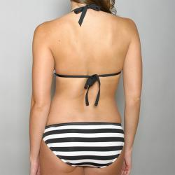Perry Ellis Swim Stripped Tactel Halter Bikini - Thumbnail 2