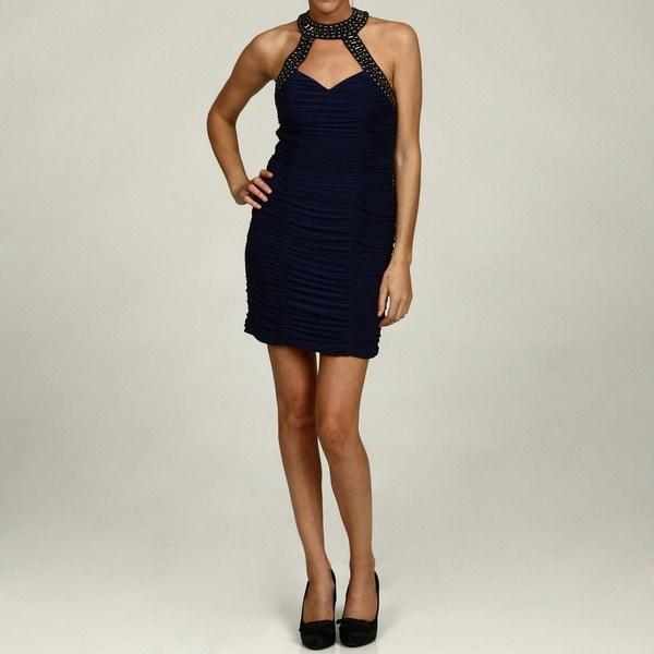 Morgan & Co Junior's Navy Bead Ruche Evening Dress