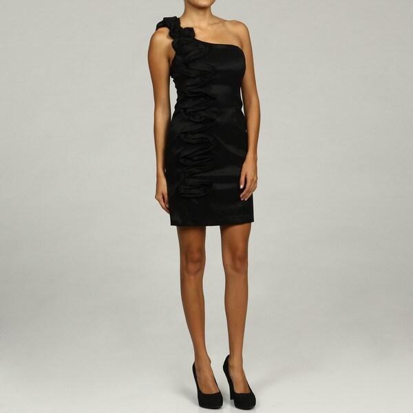 Shop Hailey Logan Women S Black Ruffle Shoulder Dress