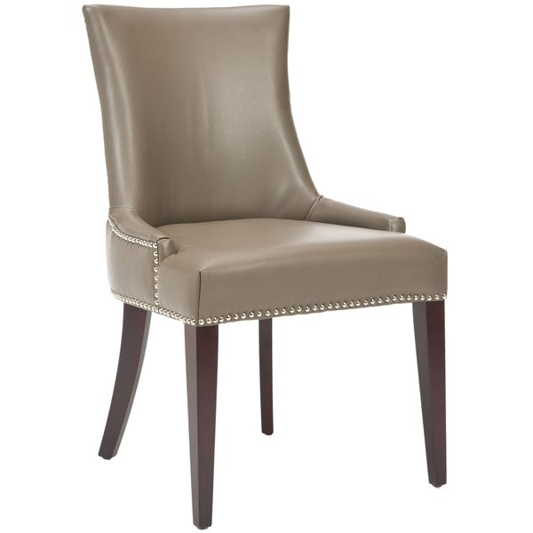 Safavieh Parsons Dining Becca Grey Leather Side Chair