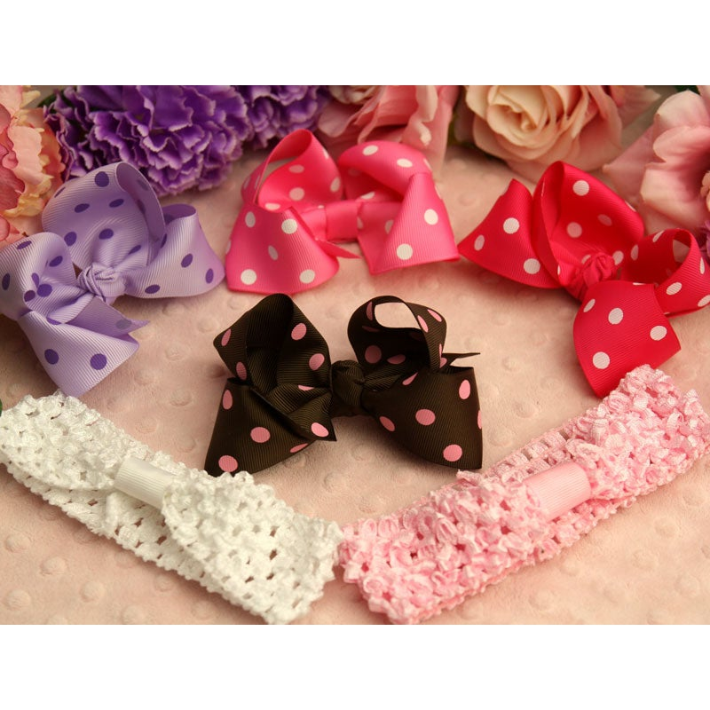 Big Bow Headbands and Bows 6-piece Set