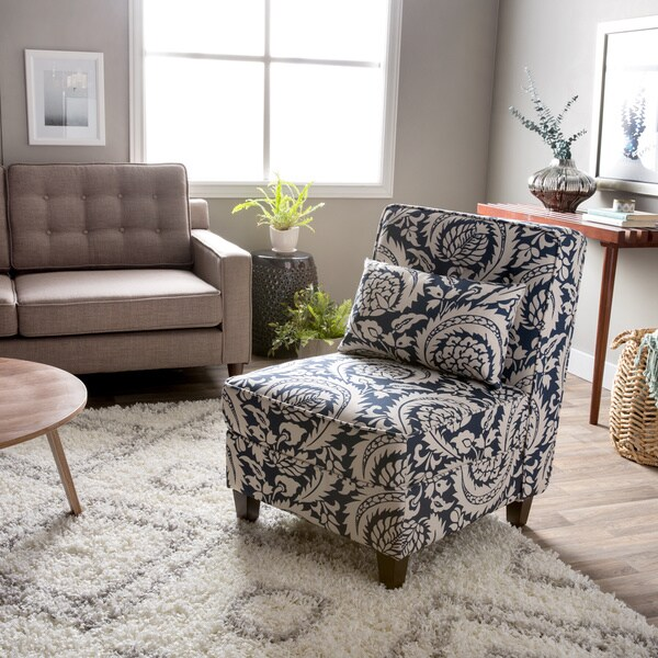 Mattie Tufted Slipper Tan/Navy Print Chair