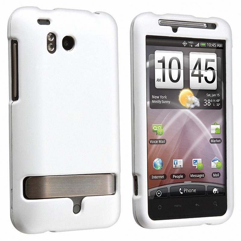 INSTEN White Rubber Coated Phone Case Cover for HTC ThunderBolt 4G