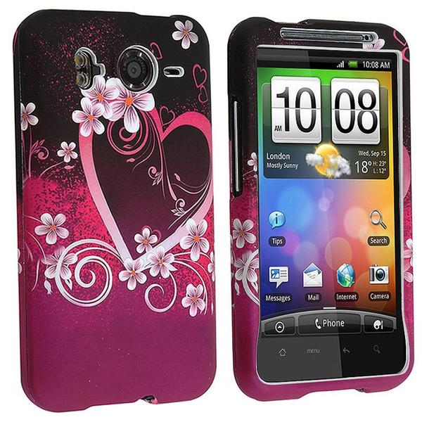 INSTEN Heart/ Flower Rubber Coated Phone Case Cover for HTC Inspire 4G/ Desire HD