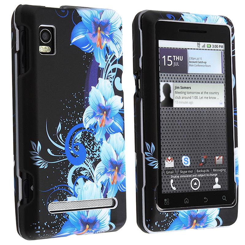 Black/ Flowers Rubber Coated Case for Motorola A955 Droid 2