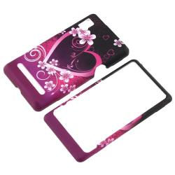 Heart/ Flowers Rubber Coated Case for Motorola A955 Droid 2 - Thumbnail 1