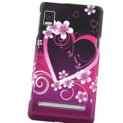 Heart/ Flowers Rubber Coated Case for Motorola A955 Droid 2 - Thumbnail 2
