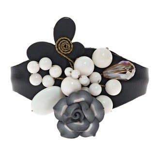Handmade Clay Flower and Gemstone Leather Cuff (5-6 mm) (Thailand)