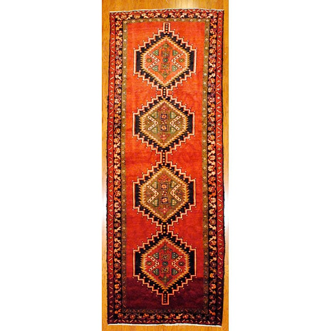 Shop Persian Hand Knotted Red Black Tribal Hamadan Wool