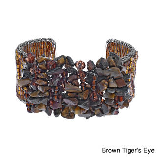 Handmade Vibrant Multi-stone/ Lapis/ Tiger's Eye/ Coral Cluster Glass Beaded Cuff Bracelet (Thailand)