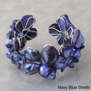 Silvertone Navy Blue/ Black/ Blue/ Red/ Brown/ Pink/ Purple/ Black/White/ Bronze/ Mother of Pearl and Crystal Cuff (Philippines)