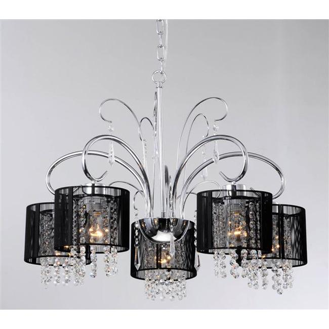Aegean Black Shade 5-light Chrome Chandelier - Thumbnail 0