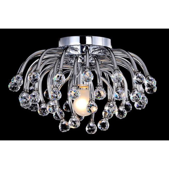 North Star II Chrome and Crystal Flushmount Chandelier