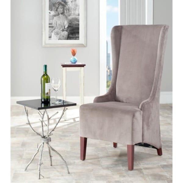 Safavieh En Vogue Dining Deco Bacall Velvet Dark Minky Grey Side Chair