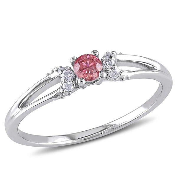 Miadora 10k White Gold 1/5ct TDW Pink and White Diamond Ring