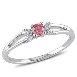 Miadora 10k White Gold 1/5ct TDW Pink and White Diamond Ring (G-H, I2-I3)