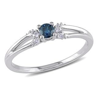 Miadora 10k White Gold 1/5ct TDW Blue and White Diamond Ring