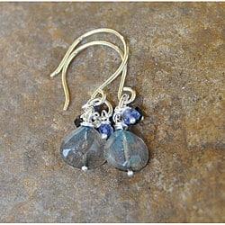Sterling Silver Labradorite Cluster Earrings