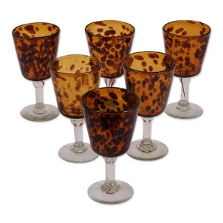 Tortoise Shell Set of Six Barware or Everyday Tableware or Hostess Gift Unique Amber Stemmed Handblown Wine Glasses (Mexico)